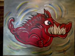 "POP Art Original Oil ""Ruby Razorback"" 24"" x 30"" By Di"