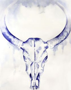 Original Indigo Watercolor Cowskull Painting