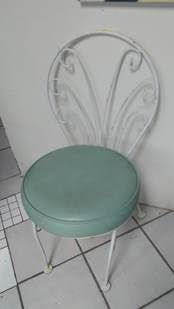 40;2) - Vintage White Rot Iron Chair w/round newly upholstered