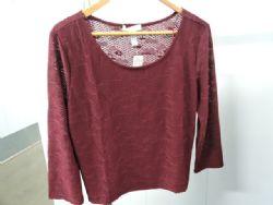 Blouse Dressy Lace Knit Blouse in Burgundy. Sz 1XL