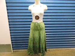 Skirt Green Cotton with lace and sequins. Sz L