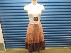 Skirt Dusty Rose w/lace,beads & velvet trim. Knee length. S