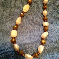 19 inch freshwater pearls and bronze crystal beads